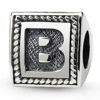 Sterling Silver Reflections Letter B Triangle Block Bead (4mm Diameter Hole)