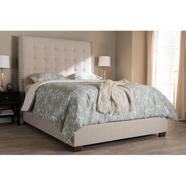 Georgette Light Beige Fabric Upholstered Box Spring Bed King