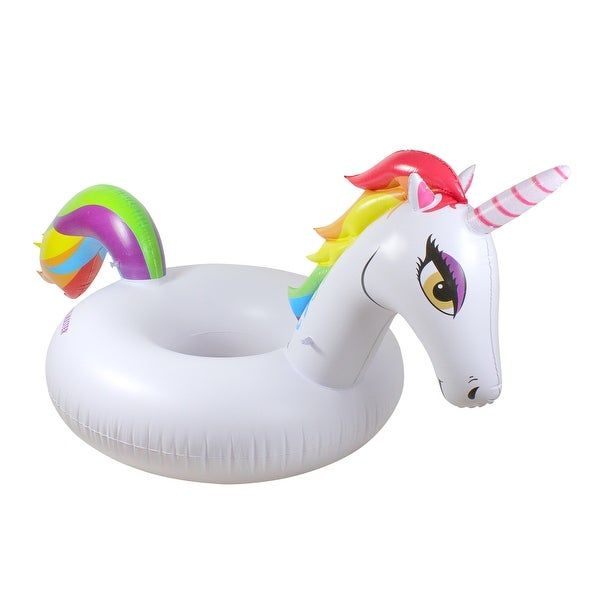 Shop 48 Quot White Inflatable Rainbow Unicorn Swimming Pool