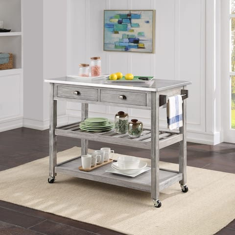 The Gray Barn Firebranch Wire-brush Kitchen Cart
