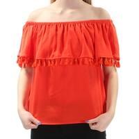 099b4b3d0b648 Shop Womens Orange Blue Plaid Pouf Off Shoulder Top Size XL - Free ...