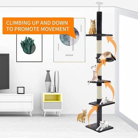 "EROMMY Cat Tree Adjustable 88.5""-100.5"" Multi-Level Cat Tower"