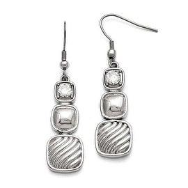 Chisel Stainless Steel Polished CZ Square Shepherd Hook Earrings