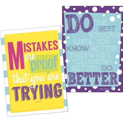 Barker Creek Keep Trying Posters, 13-3/8 x 19 Inches, Set of 2
