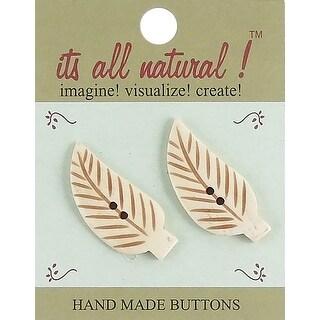 """Handmade Bone Buttons-Long Stem Leaves 1-1/2"""" 2/Pkg"""