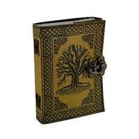 Tree of Life Two-Tone Embossed Leather Bound Journal 5x7 in. - YELLOW