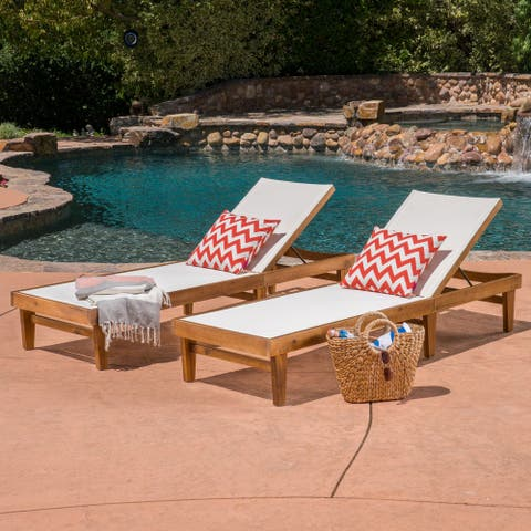 CKH Summerland Outdoor Mesh/Wood Chaise Lounges (Set of 2)