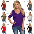 Women Casual Off the Shoulder Short Sleeve Loose Jersey Tunic Top - Thumbnail 0