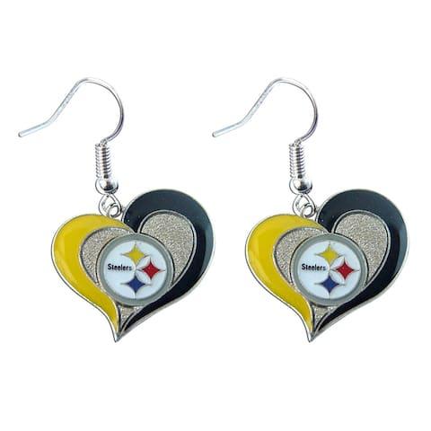 """NFL Pittsburgh Steelers 3/4"""" Swirl Heart Shape Dangle Sports Team Logo Earring Set Charm Gift"""