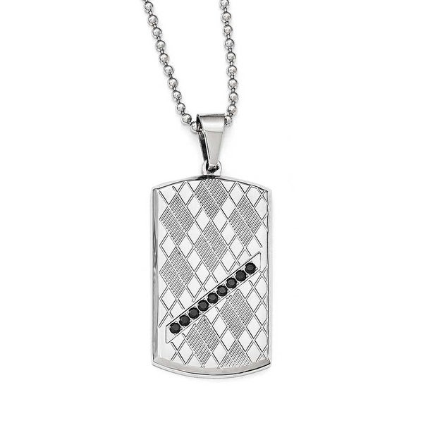 Chisel Stainless Steel Polished & Textured Black CZ Dogtag Necklace - 22 in