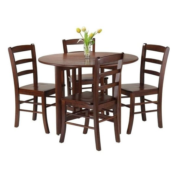 Shop 5 Piece Alamo Round Drop Leaf Dining Table Set Free Shipping