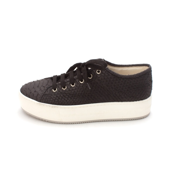 Stokton Womens 80029038800 Leather Low Top Lace Up Fashion Sneakers - 9.5