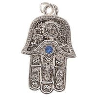 Silver Plated Hamsa Hand Charm Adorned With Sapphire SWAROVSKI ELEMENTS Crystal 23mm (1)