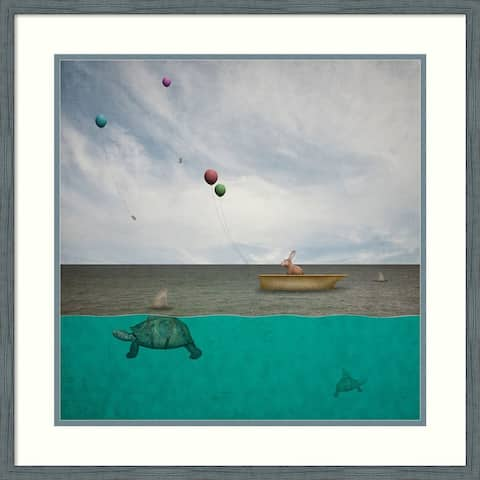 Framed Wall Art Print Theres Sharks in these Waters 25x25 inch
