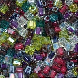 Miyuki 4mm Glass Cube Beads Color Mix Lavender Garden 10 Grams