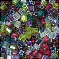 Miyuki 4mm Glass Cube Beads Color Mix Lavender Garden 10 Grams