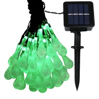 Sunnydaze 30-Count LED Solar Powered Water Drop String Lights - Set of 1 - Multiple Colors Available