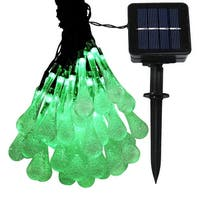 Sunnydaze 30-Count LED Solar Powered Water Drop String Lights - Set of 2 - Multiple Colors Available