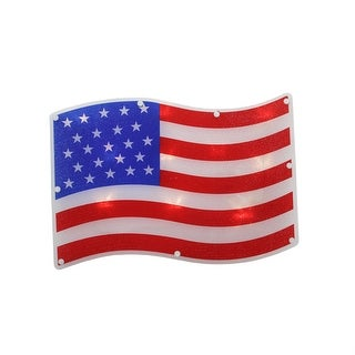 """Link to 13.25"""" Red and White LED Lighted Patriotic American Flag Window Silhouette Similar Items in Decorative Accessories"""