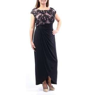 CONNECTED $99 Womens New 1074 Black Ruched Cap Sleeve Dress 20W Plus B+B