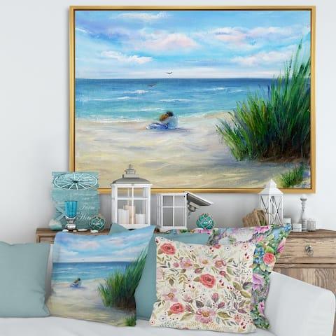 Designart 'Couple In Love By The Beach' Nautical & Coastal Framed Canvas Wall Art Print