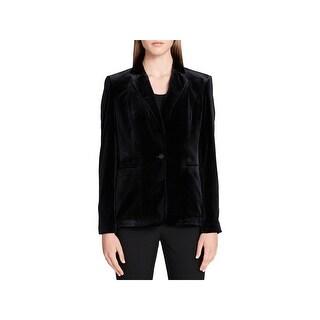 Calvin Klein Womens One-Button Blazer Velvet Special Occasion