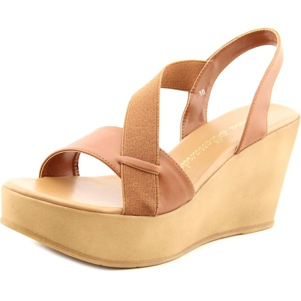 Athena Alexander Koko Women Open Toe Synthetic Tan Wedge Sandal