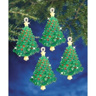 "Holiday Beaded Ornament Kit-Emerald Tree Twists 3.5"" Makes 4"