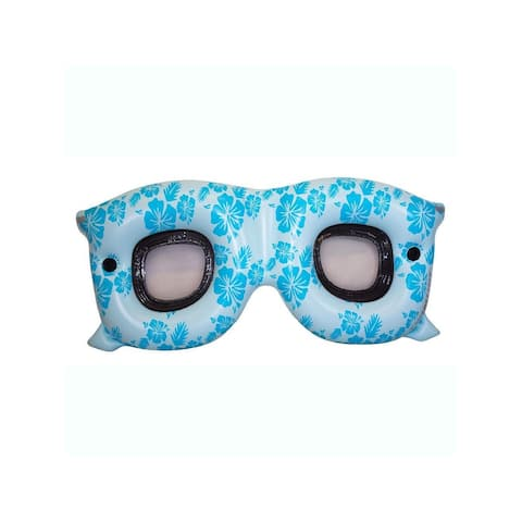 "60"" Inflatable Floral Blue Shades Double Seat Swimming Pool Lounge Float"