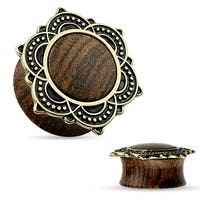 Natural Rose Wood Saddle Plug with Tribal Lotus Top (Sold Individually)
