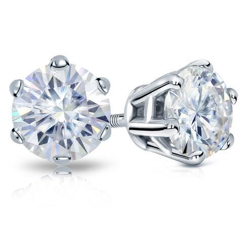 Auriya 14k Gold 1 carat TW Round Moissanite Stud Earrings - 5 mm