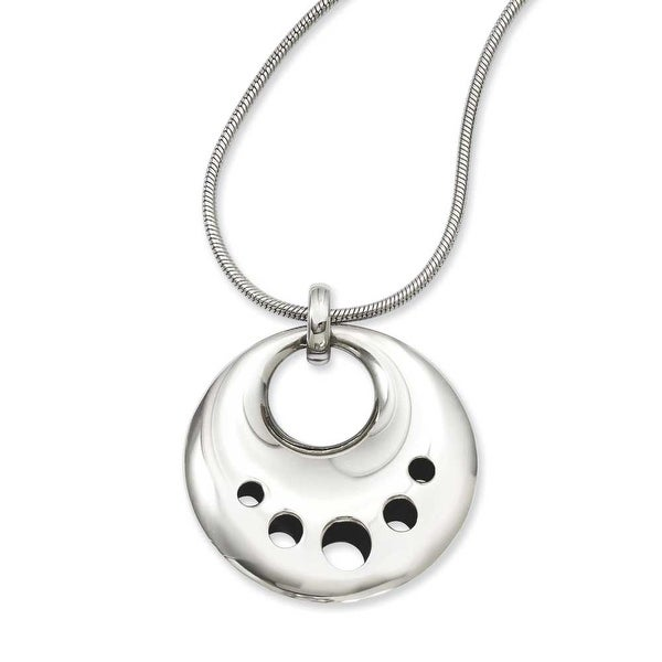 Stainless Steel Polished Circle Cut Out Dangle Pendant 24in Necklace (2 mm) - 24 in