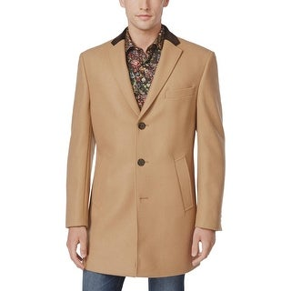 Tallia Orange Label Mens Wool Blend Overcoat Tan Solid Small S