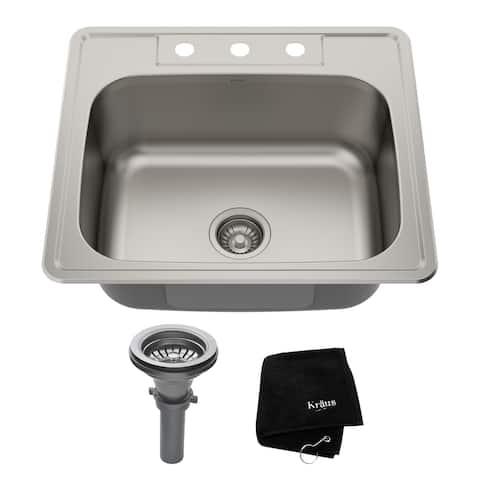 KRAUS Stainless Steel 25 inch 1-Bowl Topmount Drop-in Kitchen Sink