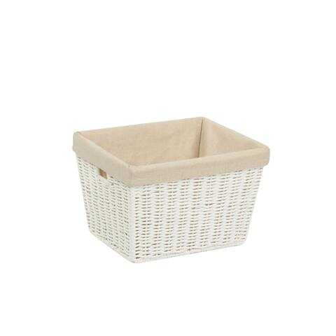 "Honey-Can-Do STO-03560 Paper Rope Storage Tote with Liner, White, 10""x12""x8"""