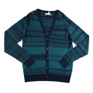 1901 NEW Green Combo Mens Size Large L Stripe Knit Cardigan Sweater
