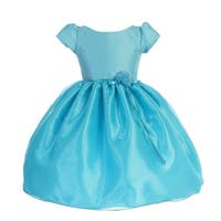 Little Girls Turquoise Dupioni Organza Floral Bow Flower Girl Dress