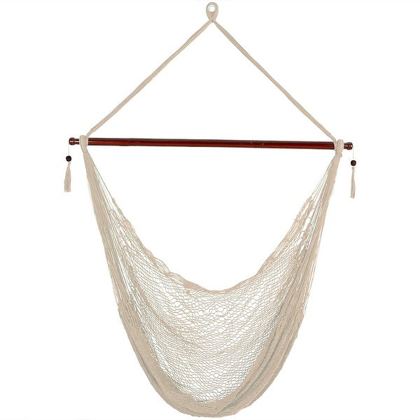 Sunnydaze Cream Hanging Cabo Extra Large Hammock Chair - 47-Inch Spreader Bar - Hammock Chair ONLY