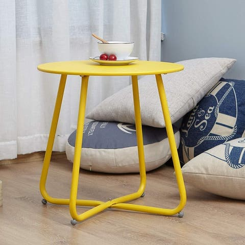 Clihome Weather-resistant Outdoor Steel Round Side Table