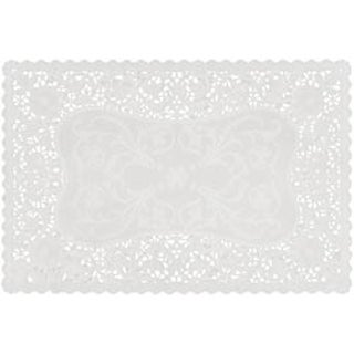 """White - French Lace Paper Doilies 9.75""""X14.5"""" Rectangle 16/Pkg"""""""