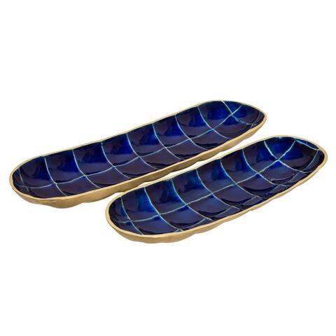S/2 Decorative Tortoise Shell Metal Plates, Blue