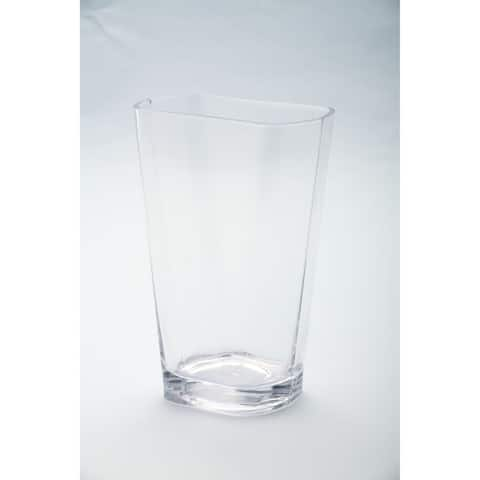 """8"""" Clear Elegant Oval Tapered Hand Blown Glass Vase"""