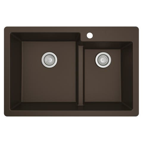 "Karran Top Mount Large/Small Bowl Quartz Kitchen Sink - 33"" x 22"" x 9"""
