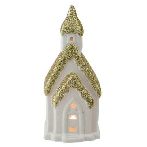 """6"""" Home Sweet Home White and Gold Ceramic House with Light Figurine"""