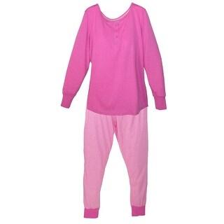 Hanes Women's Henley Top Jogger Pant Pajama Set