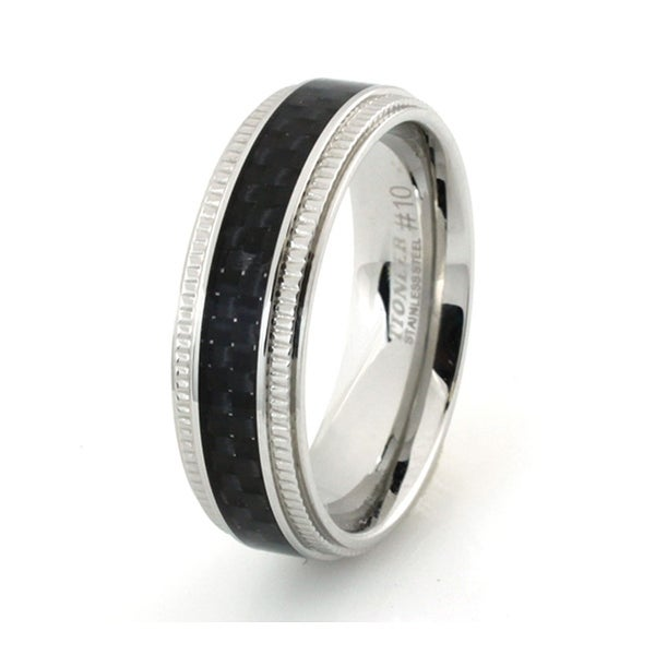 Stainless Steel Ring w/ Black Carbon Fiber Inlay