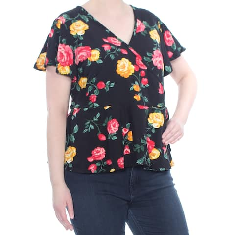 PLANET GOLD Womens Black Flutter Sleeves Floral Print Top Plus Size: 2X