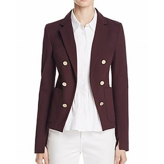 Theory NEW Purple Womens Size 12 Open-Front Button-Detail Ponte Jacket