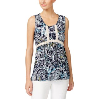 NY Collection Womens Petites Pullover Top Printed Sleeveless