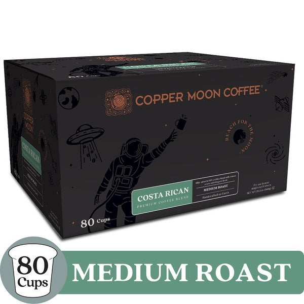 Copper Moon Coffee K-Cups, Costa Rican Blend, 80 Count - Medium Roast Costa Rican Blend Coffee - 80 Count